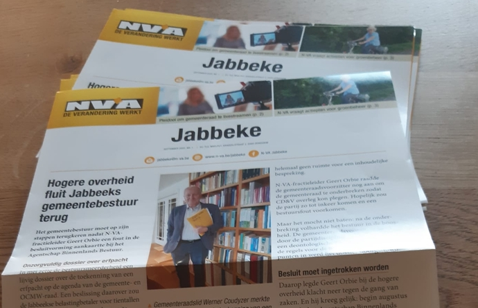 Huis-aan-huisblad N-VA Jabbeke